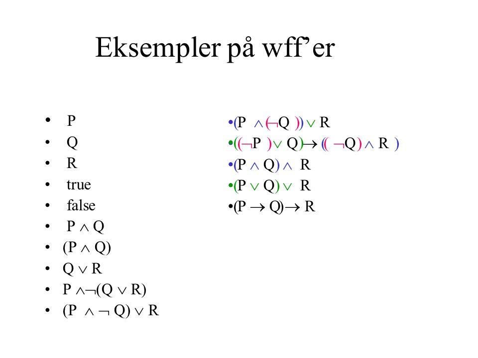 Eksempler på wff'er P Q R true false P  Q (P  Q) Q  R P  (Q  R) (P   Q)  R P   Q  R  P  Q   Q  R P  Q  R P  Q  R P  Q  R ( ) ( ) ( ) ( ) ( )
