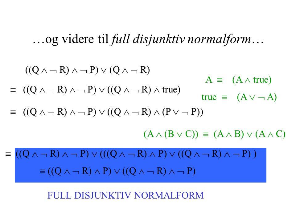 …og videre til full disjunktiv normalform… ((Q   R)   P)  (Q   R)  ((Q   R)   P)  ((Q   R)  true) A  (A  true)  ((Q   R)   P)  ((Q   R)  (P   P)) true  (A   A)  ((Q   R)   P)  (((Q   R)  P)  ((Q   R)   P) ) (A  (B  C))  (A  B)  (A  C) FULL DISJUNKTIV NORMALFORM  ((Q   R)  P)  ((Q   R)   P)