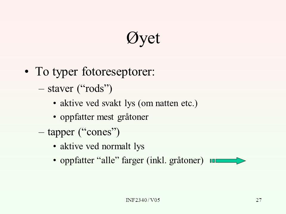 "INF2340 / V0527 Øyet To typer fotoreseptorer: –staver (""rods"") aktive ved svakt lys (om natten etc.) oppfatter mest gråtoner –tapper (""cones"") aktive"
