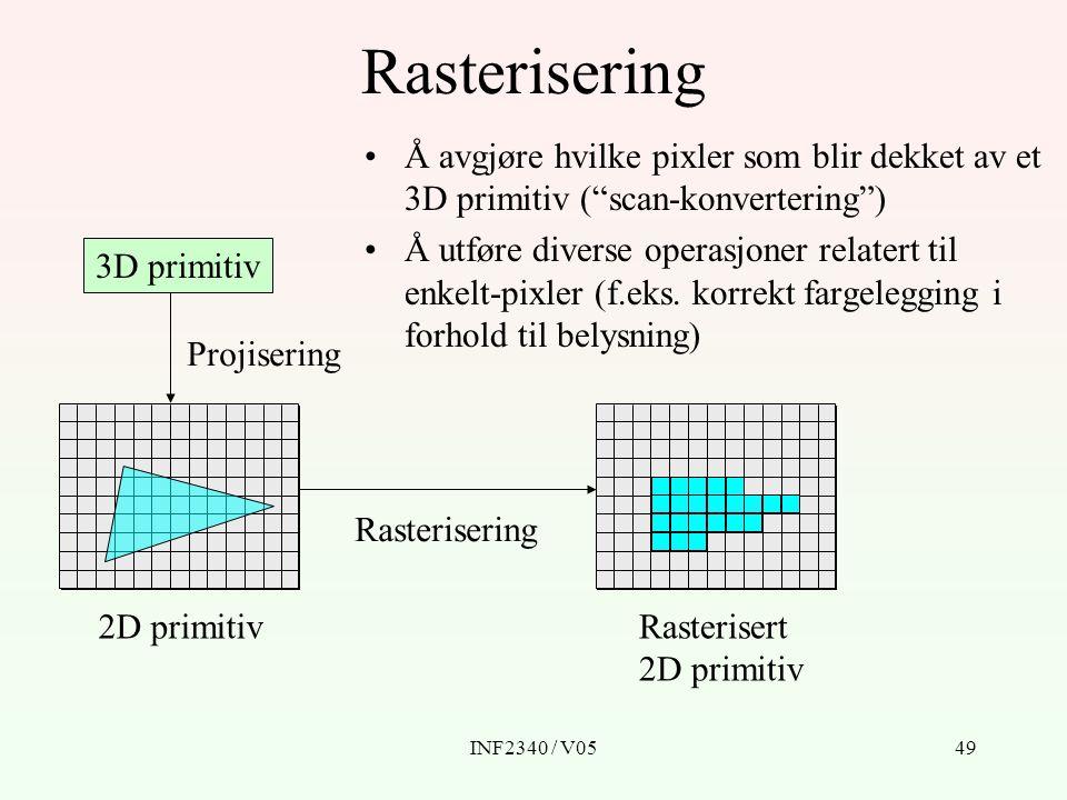 INF2340 / V0549 3D primitiv Projisering 2D primitivRasterisert 2D primitiv Rasterisering Å avgjøre hvilke pixler som blir dekket av et 3D primitiv ( scan-konvertering ) Å utføre diverse operasjoner relatert til enkelt-pixler (f.eks.