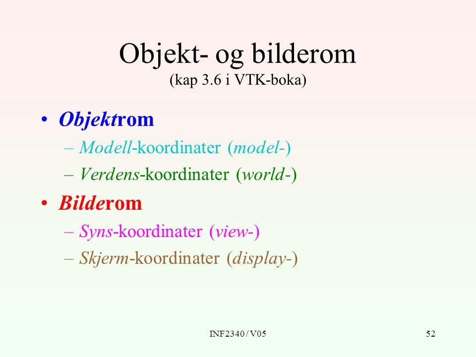INF2340 / V0552 Objektrom –Modell-koordinater (model-) –Verdens-koordinater (world-) Bilderom –Syns-koordinater (view-) –Skjerm-koordinater (display-)