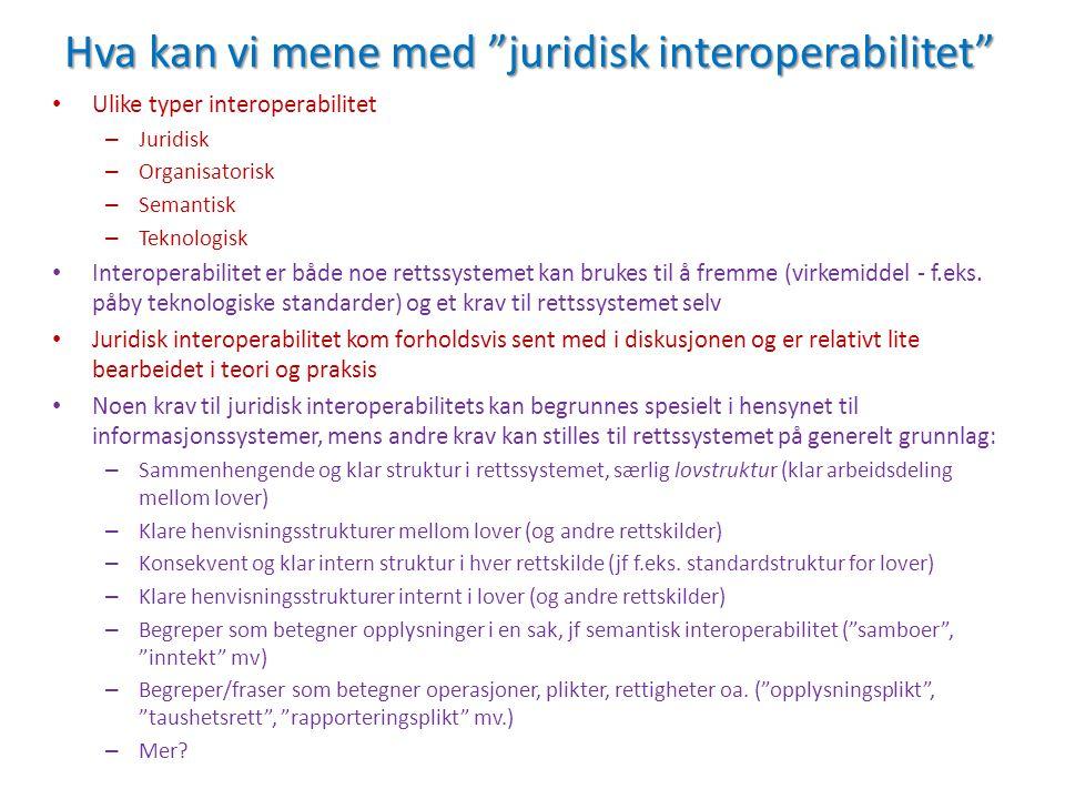 Hva kan vi mene med juridisk interoperabilitet Ulike typer interoperabilitet – Juridisk – Organisatorisk – Semantisk – Teknologisk Interoperabilitet er både noe rettssystemet kan brukes til å fremme (virkemiddel - f.eks.