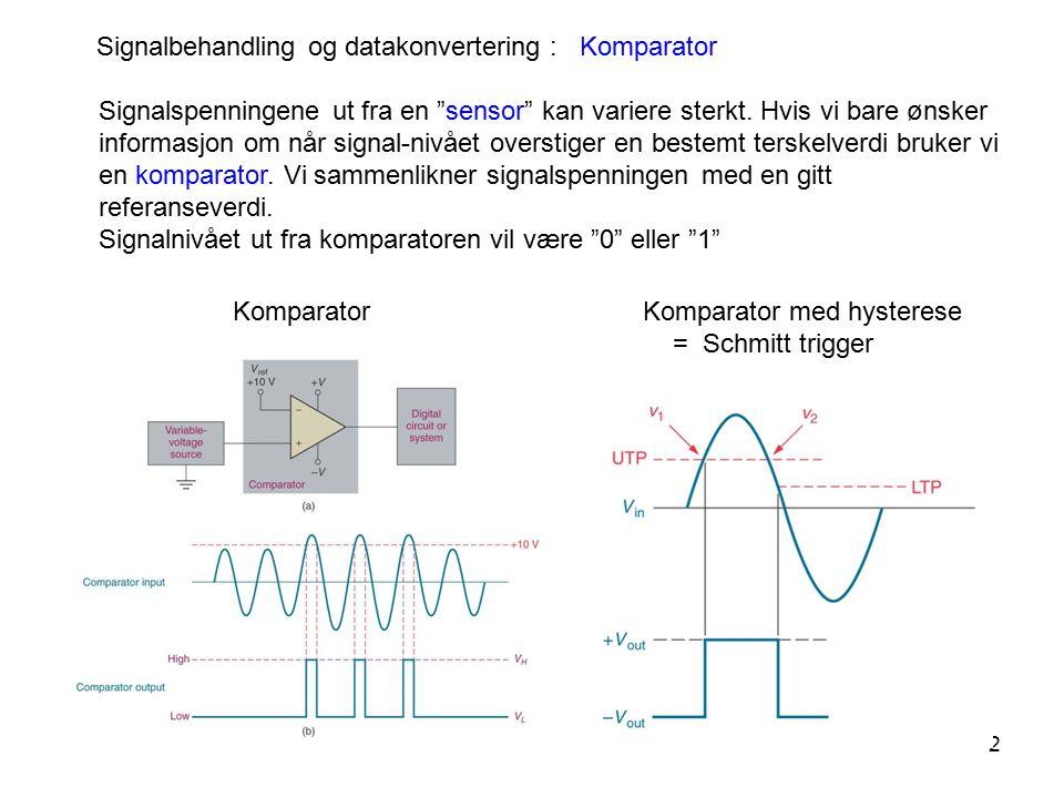 """2 Signalbehandling og datakonvertering : Komparator Komparator med hysterese = Schmitt trigger Komparator Signalspenningene ut fra en """"sensor"""" kan var"""