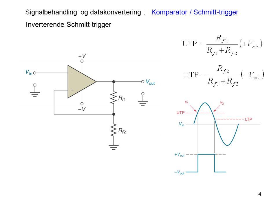 4 Inverterende Schmitt trigger Signalbehandling og datakonvertering : Komparator / Schmitt-trigger