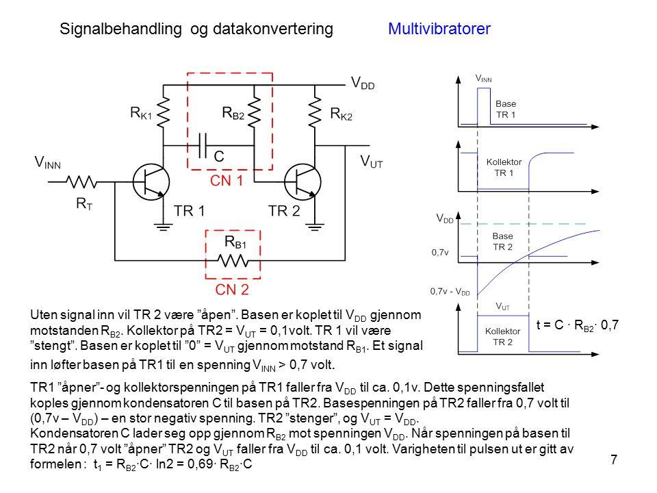 """7 Signalbehandling og datakonverteringMultivibratorer Uten signal inn vil TR 2 være """"åpen"""". Basen er koplet til V DD gjennom motstanden R B2. Kollekto"""