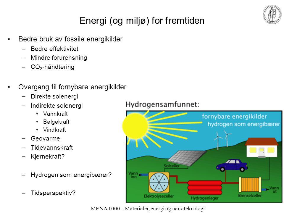 MENA 1000 – Materialer, energi og nanoteknologi Moderne samfunn og velferd krever energi. Hvor kommer den fra?