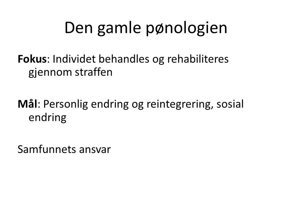 Den gamle pønologien Fokus: Individet behandles og rehabiliteres gjennom straffen Mål: Personlig endring og reintegrering, sosial endring Samfunnets ansvar