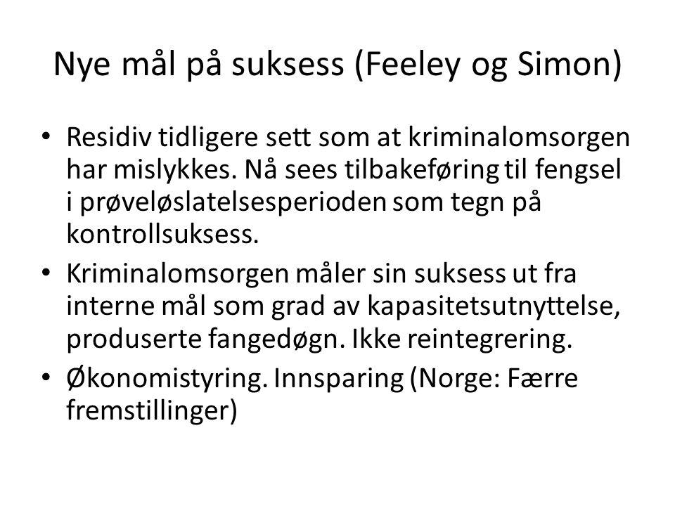 Nye mål på suksess (Feeley og Simon) Residiv tidligere sett som at kriminalomsorgen har mislykkes.