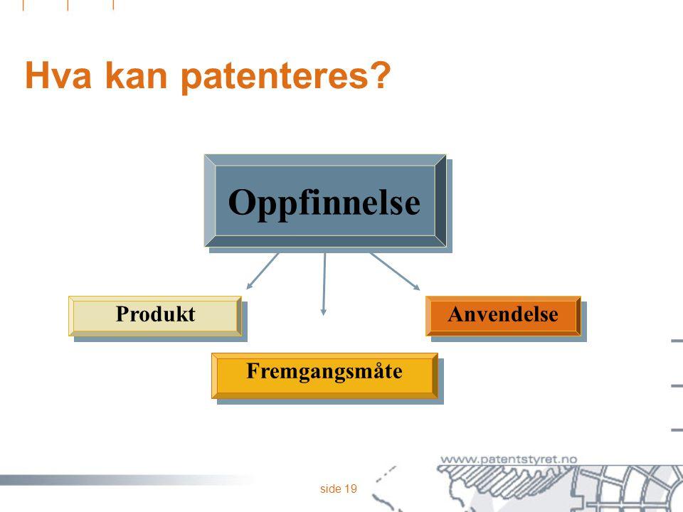 side 19 Hva kan patenteres? Anvendelse Fremgangsmåte Produkt Oppfinnelse