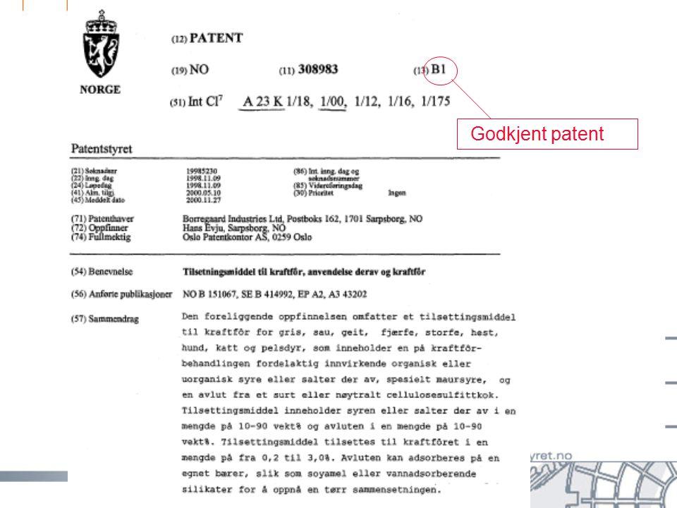 side 30 Godkjent patent