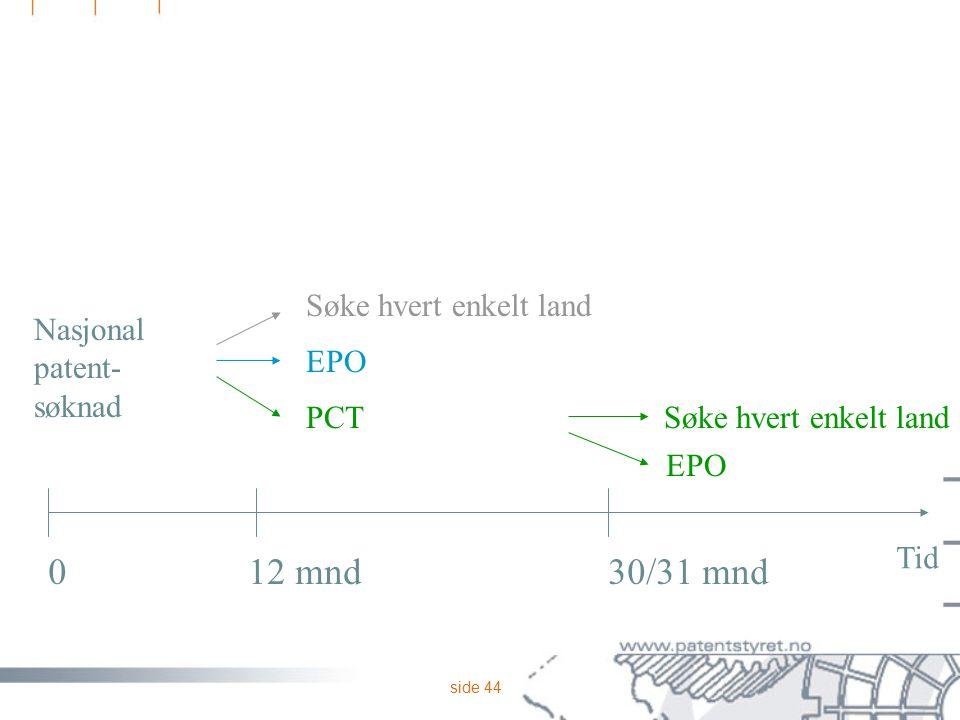 side 44 Nasjonal patent- søknad 012 mnd30/31 mnd Tid Søke hvert enkelt land PCT Søke hvert enkelt land EPO