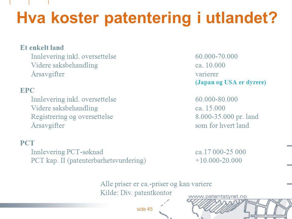 side 45 Hva koster patentering i utlandet? Et enkelt land Innlevering inkl. oversettelse60.000-70.000 Videre saksbehandlingca. 10.000 Årsavgiftervarie