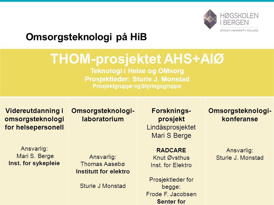 Omsorgsteknologi på HiB THOM-prosjektet AHS+AIØ Teknologi i Helse og OMsorg Prosjektleder: Sturle J.