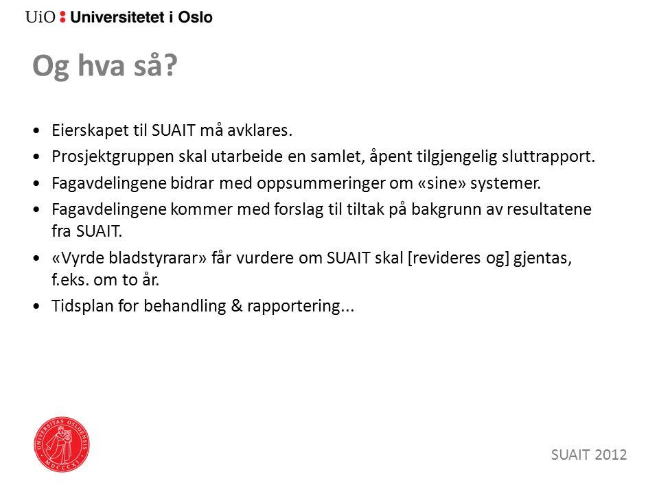 Og hva så. Eierskapet til SUAIT må avklares.