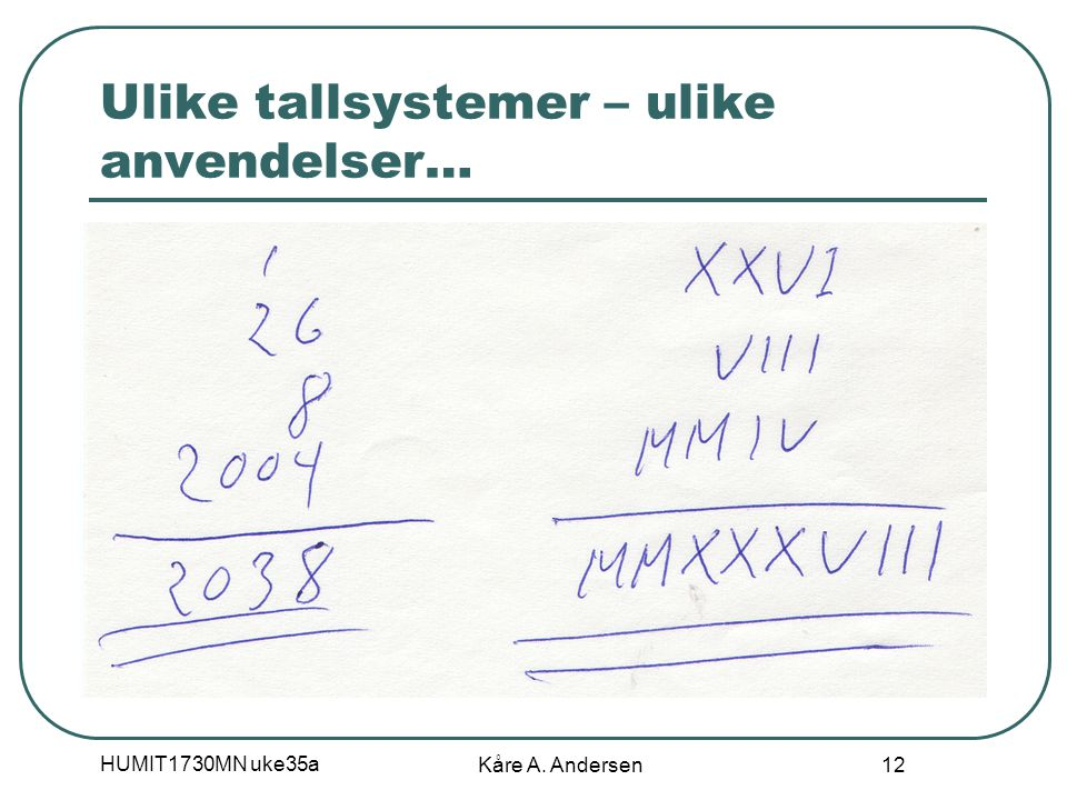 HUMIT1730MN uke35a Kåre A. Andersen 12 Ulike tallsystemer – ulike anvendelser…