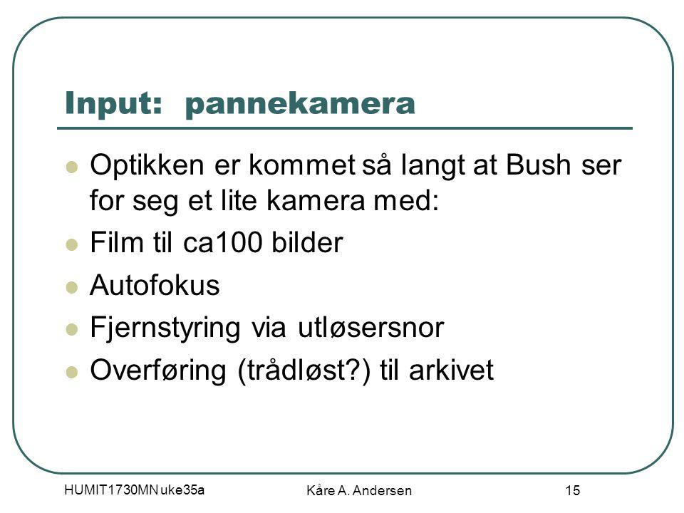 HUMIT1730MN uke35a Kåre A. Andersen 15 Input: pannekamera Optikken er kommet så langt at Bush ser for seg et lite kamera med: Film til ca100 bilder Au