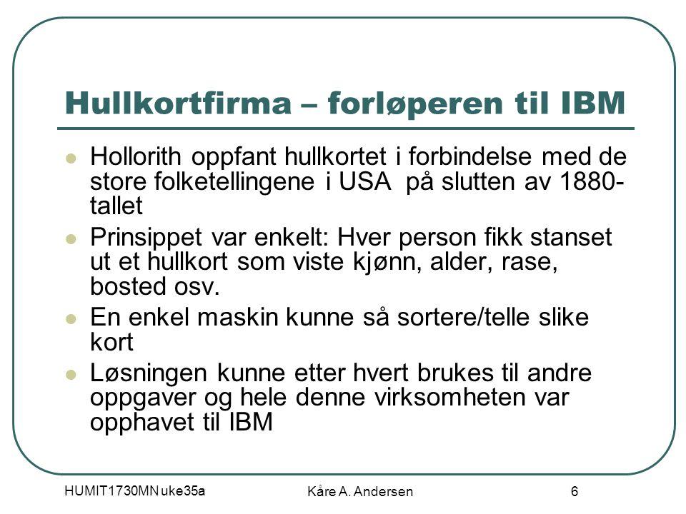 HUMIT1730MN uke35a Kåre A. Andersen 6 Hullkortfirma – forløperen til IBM Hollorith oppfant hullkortet i forbindelse med de store folketellingene i USA