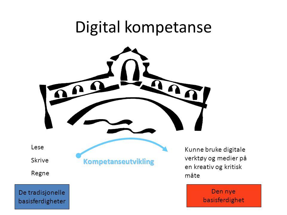 Digital kompetanse Lese Skrive Regne Kunne bruke digitale verktøy og medier på en kreativ og kritisk måte Kompetanseutvikling De tradisjonelle basisferdigheter Den nye basisferdighet