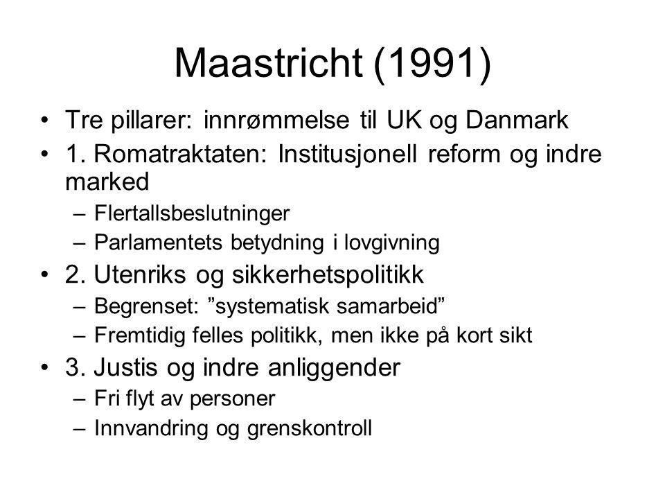 Maastricht (1991) Tre pillarer: innrømmelse til UK og Danmark 1.