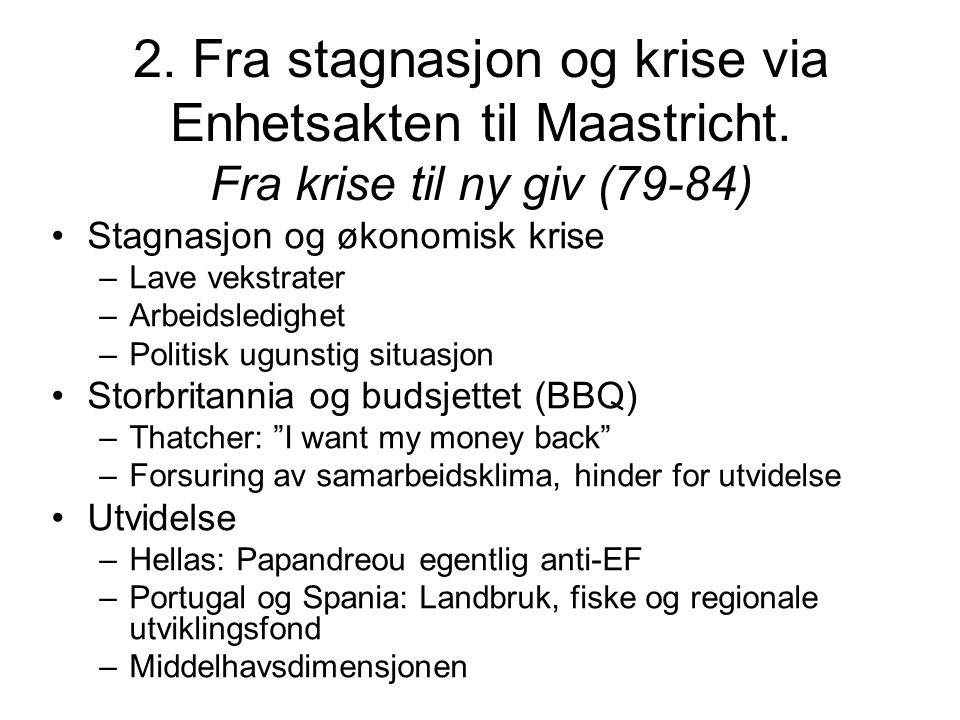 2. Fra stagnasjon og krise via Enhetsakten til Maastricht.