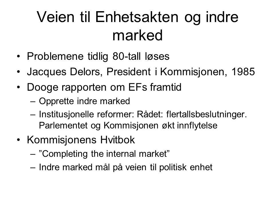 Veien til Enhetsakten og indre marked Problemene tidlig 80-tall løses Jacques Delors, President i Kommisjonen, 1985 Dooge rapporten om EFs framtid –Opprette indre marked –Institusjonelle reformer: Rådet: flertallsbeslutninger.