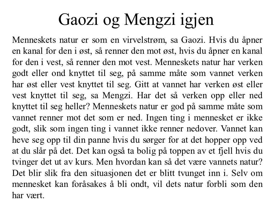 Gaozi og Mengzi igjen Menneskets natur er som en virvelstrøm, sa Gaozi. Hvis du åpner en kanal for den i øst, så renner den mot øst, hvis du åpner en
