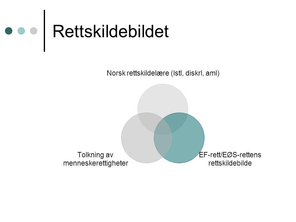 Rettskildebildet Norsk rettskildelære (lstl, diskrl, aml) EF-rett/EØS-rettens rettskildebilde Tolkning av menneskerettigheter