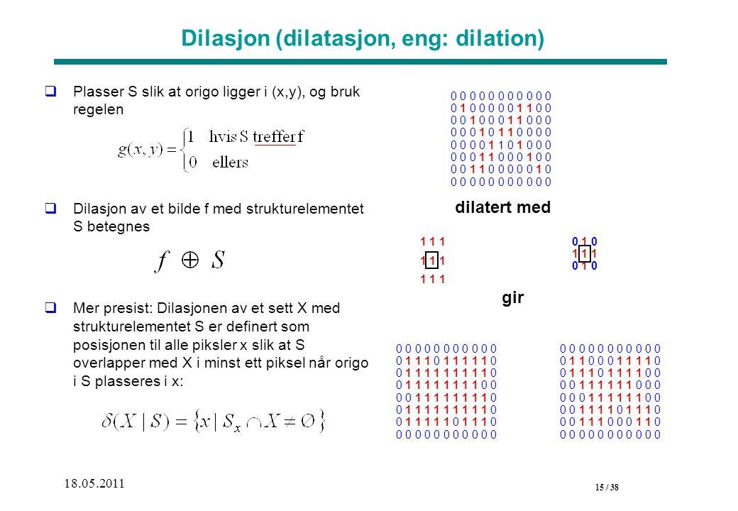 15 / 38 18.05.2011 Dilasjon (dilatasjon, eng: dilation)  Plasser S slik at origo ligger i (x,y), og bruk regelen  Dilasjon av et bilde f med strukturelementet S betegnes  Mer presist: Dilasjonen av et sett X med strukturelementet S er definert som posisjonen til alle piksler x slik at S overlapper med X i minst ett piksel når origo i S plasseres i x: 1 1 1 dilatert med gir 0 0 0 0 0 0 0 0 0 0 0 0 1 1 0 0 0 1 1 1 1 0 0 1 1 1 0 1 1 1 1 0 0 0 0 1 1 1 1 1 1 0 0 0 0 0 0 1 1 1 1 1 1 0 0 0 0 1 1 1 1 0 1 1 1 0 0 0 1 1 1 0 0 0 1 1 0 0 0 0 0 0 0 0 0 0 0 0 0 1 0 1 1 1 0 1 0 0 0 0 0 0 0 0 0 0 0 0 0 1 0 0 0 0 0 1 1 0 0 0 0 1 0 0 0 1 1 0 0 0 0 0 0 1 0 1 1 0 0 0 0 0 0 0 0 1 1 0 1 0 0 0 0 0 0 1 1 0 0 0 1 0 0 0 0 1 1 0 0 0 0 0 1 0 0 0 0 0 0 0 0 0 0 0 0 0 1 1 1 0 1 1 1 1 1 0 0 1 1 1 1 1 1 1 1 1 0 0 1 1 1 1 1 1 1 1 0 0 0 0 1 1 1 1 1 1 1 1 0 0 1 1 1 1 1 1 1 1 1 0 0 1 1 1 1 1 0 1 1 1 0 0 0 0 0 0 0 0 0 0 0 0