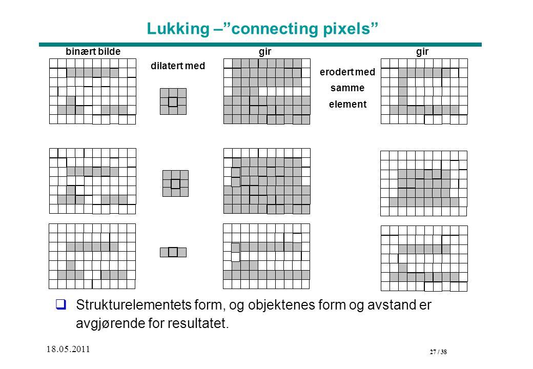 27 / 38 18.05.2011 Lukking – connecting pixels  Strukturelementets form, og objektenes form og avstand er avgjørende for resultatet.