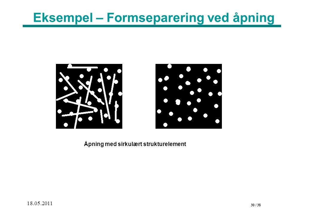 30 / 38 18.05.2011 Eksempel – Formseparering ved åpning Åpning med sirkulært strukturelement