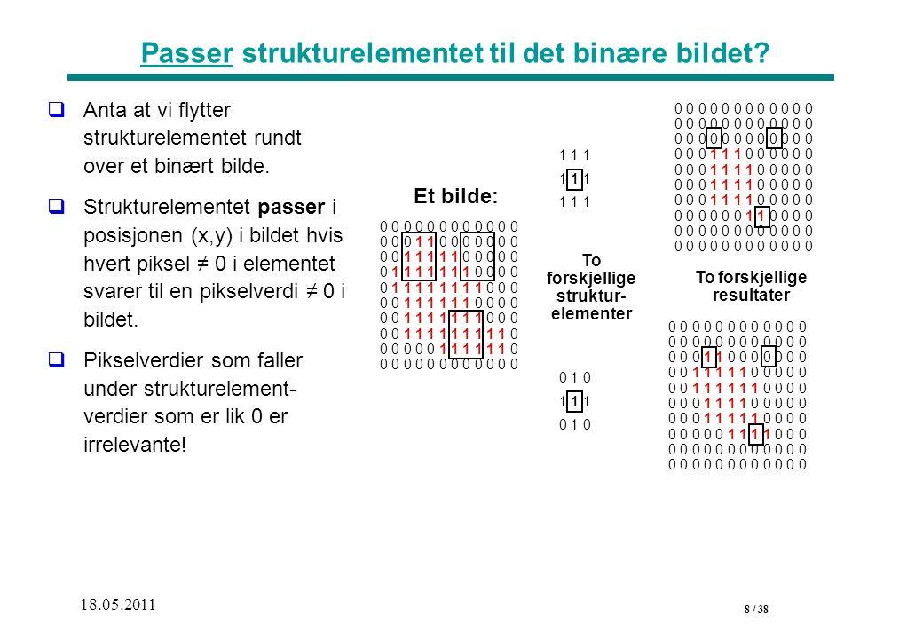 8 / 38 18.05.2011 Passer strukturelementet til det binære bildet.