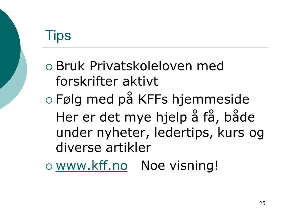 25 Tips  Bruk Privatskoleloven med forskrifter aktivt  Følg med på KFFs hjemmeside Her er det mye hjelp å få, både under nyheter, ledertips, kurs og