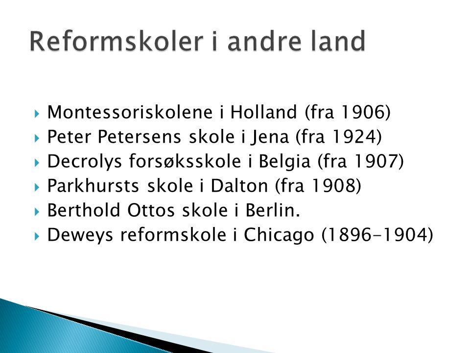  Montessoriskolene i Holland (fra 1906)  Peter Petersens skole i Jena (fra 1924)  Decrolys forsøksskole i Belgia (fra 1907)  Parkhursts skole i Dalton (fra 1908)  Berthold Ottos skole i Berlin.