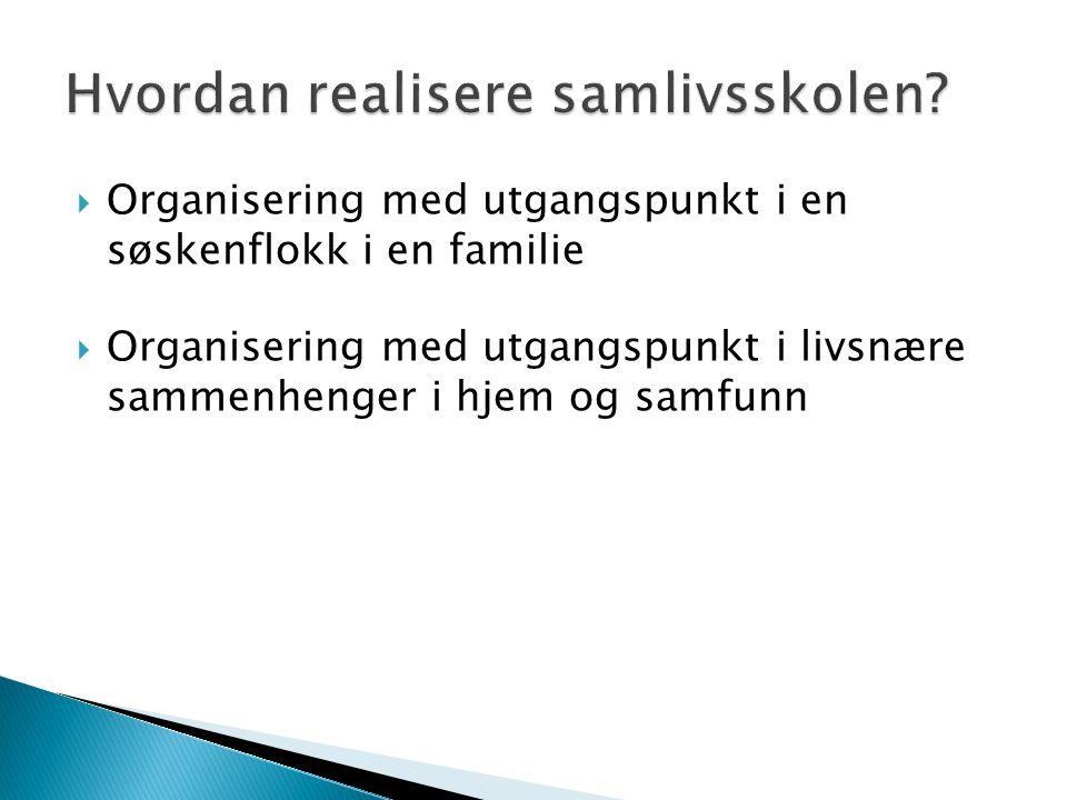  Organisering med utgangspunkt i en søskenflokk i en familie  Organisering med utgangspunkt i livsnære sammenhenger i hjem og samfunn