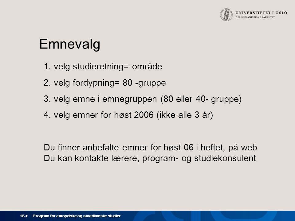 15 > Program for europeiske og amerikanske studier Emnevalg 1. velg studieretning= område 2. velg fordypning= 80 -gruppe 3. velg emne i emnegruppen (8