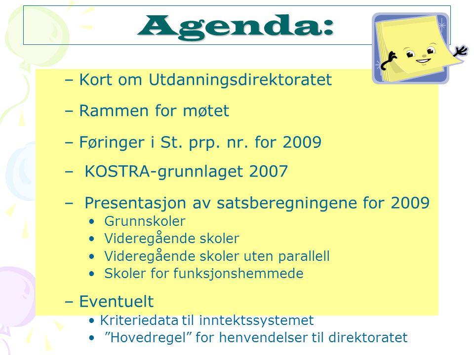 Agenda: –Kort om Utdanningsdirektoratet –Rammen for møtet –Føringer i St.
