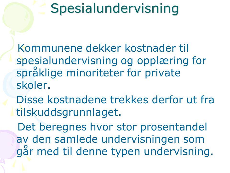 Spesialundervisning Kommunene dekker kostnader til spesialundervisning og opplæring for språklige minoriteter for private skoler.