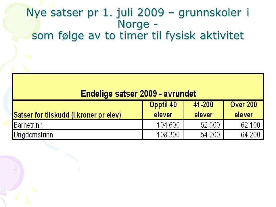 Nye satser pr 1. juli 2009 – grunnskoler i Norge - som følge av to timer til fysisk aktivitet