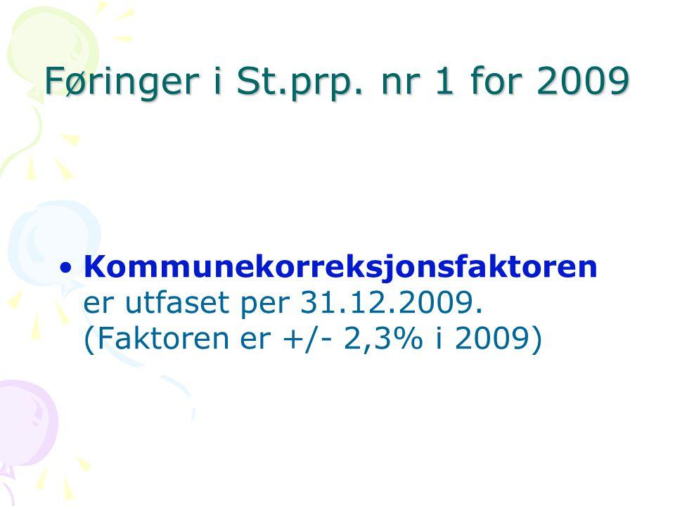 Føringer i St.prp. nr 1 for 2009 Kommunekorreksjonsfaktoren er utfaset per 31.12.2009.