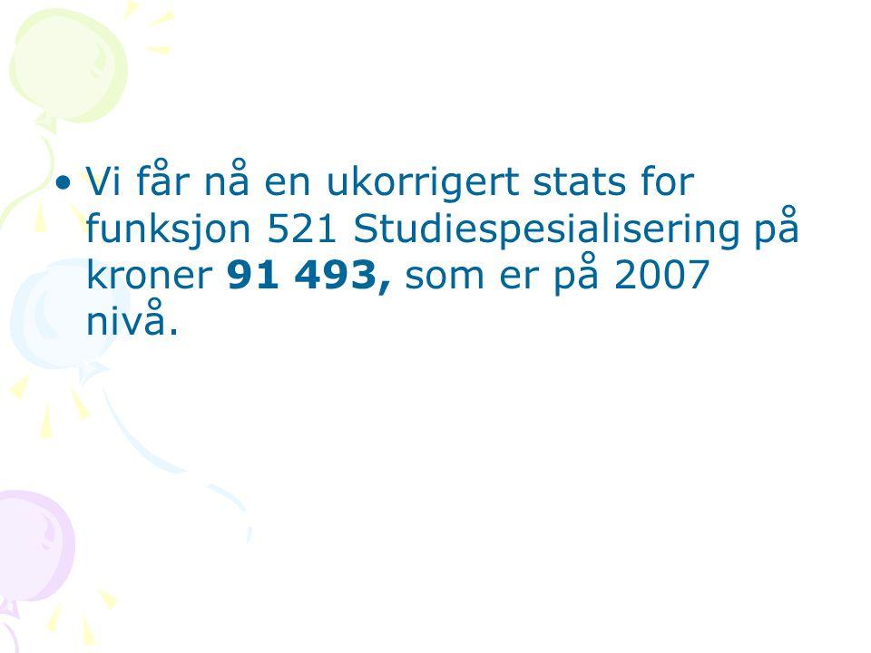 Vi får nå en ukorrigert stats for funksjon 521 Studiespesialisering på kroner 91 493, som er på 2007 nivå.