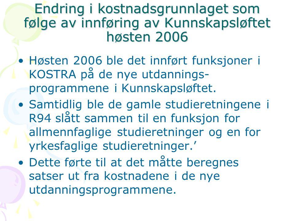 Endring i kostnadsgrunnlaget som følge av innføring av Kunnskapsløftet høsten 2006 Høsten 2006 ble det innført funksjoner i KOSTRA på de nye utdannings- programmene i Kunnskapsløftet.
