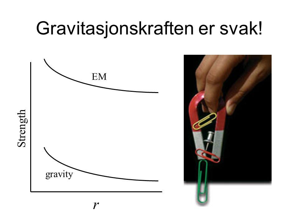 Gravitasjonskraften er svak! gravity EM Strength r