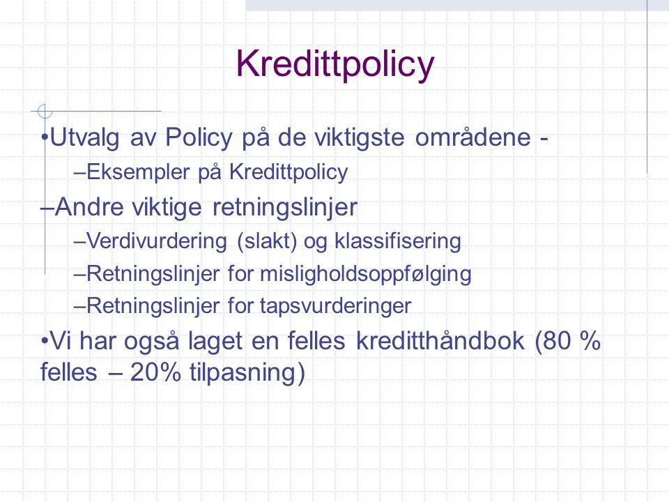 Kredittpolicy Utvalg av Policy på de viktigste områdene - –Eksempler på Kredittpolicy –Andre viktige retningslinjer –Verdivurdering (slakt) og klassif