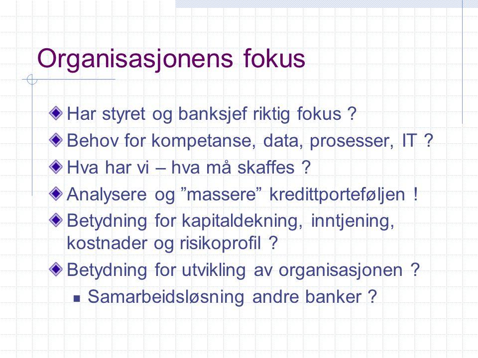 """Organisasjonens fokus Har styret og banksjef riktig fokus ? Behov for kompetanse, data, prosesser, IT ? Hva har vi – hva må skaffes ? Analysere og """"ma"""
