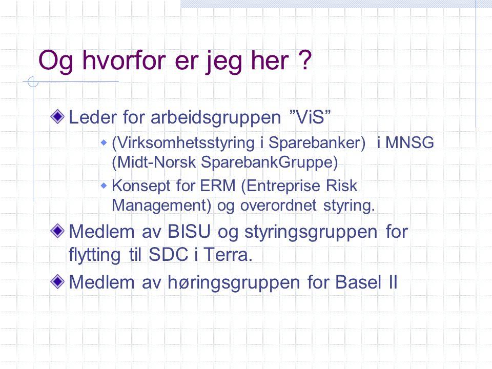"""Og hvorfor er jeg her ? Leder for arbeidsgruppen """"ViS""""  (Virksomhetsstyring i Sparebanker) i MNSG (Midt-Norsk SparebankGruppe)  Konsept for ERM (Ent"""