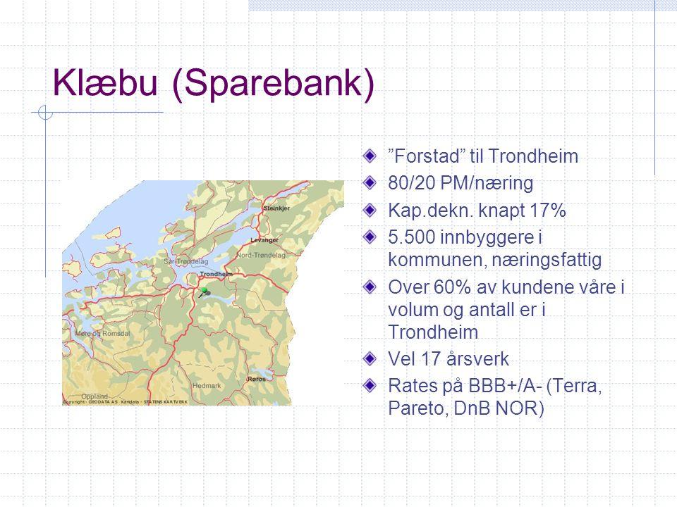 """Klæbu (Sparebank) """"Forstad"""" til Trondheim 80/20 PM/næring Kap.dekn. knapt 17% 5.500 innbyggere i kommunen, næringsfattig Over 60% av kundene våre i vo"""