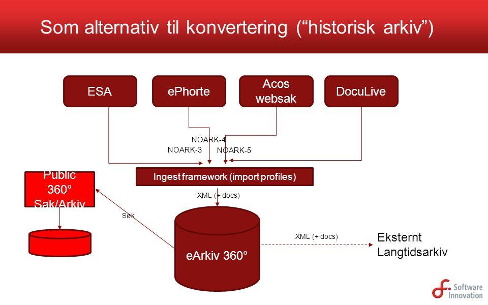 "Som alternativ til konvertering (""historisk arkiv"") eArkiv 360° ESAePhorte Acos websak DocuLive XML (+ docs) Ingest framework (import profiles) NOARK-"