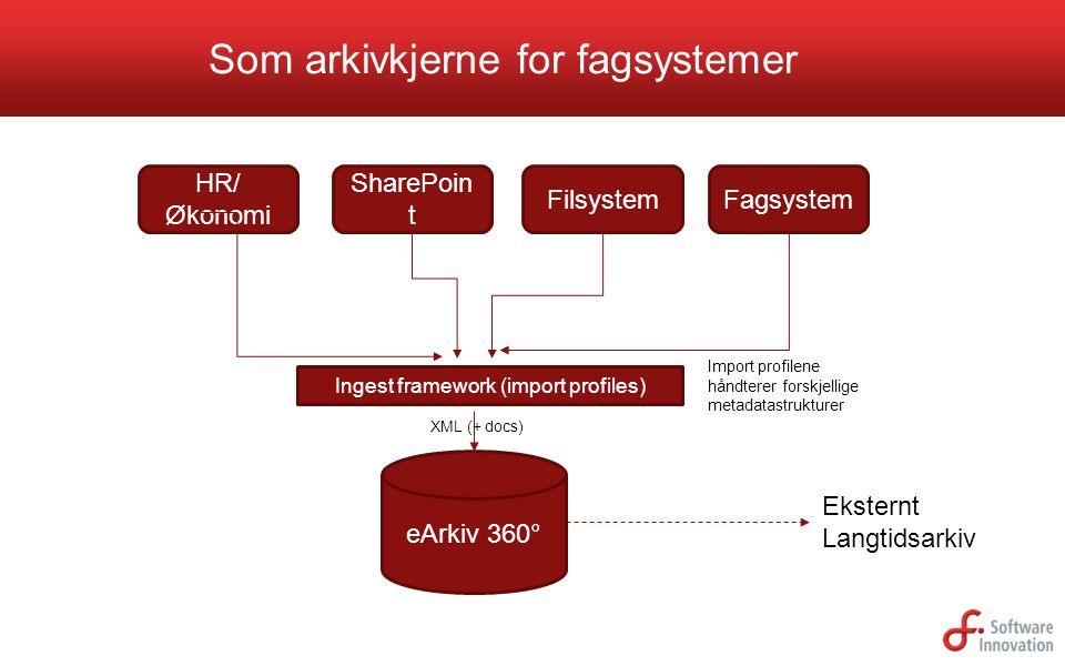 Som arkivkjerne for fagsystemer eArkiv 360° HR/ Økonomi SharePoin t FilsystemFagsystem XML (+ docs) Ingest framework (import profiles) Eksternt Langti