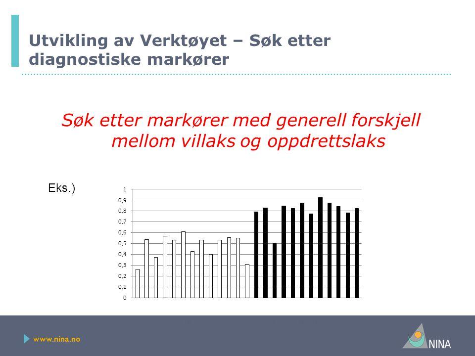 www.nina.no Utvikling av Verktøyet – Søk etter diagnostiske markører Søk etter markører med generell forskjell mellom villaks og oppdrettslaks Villaks