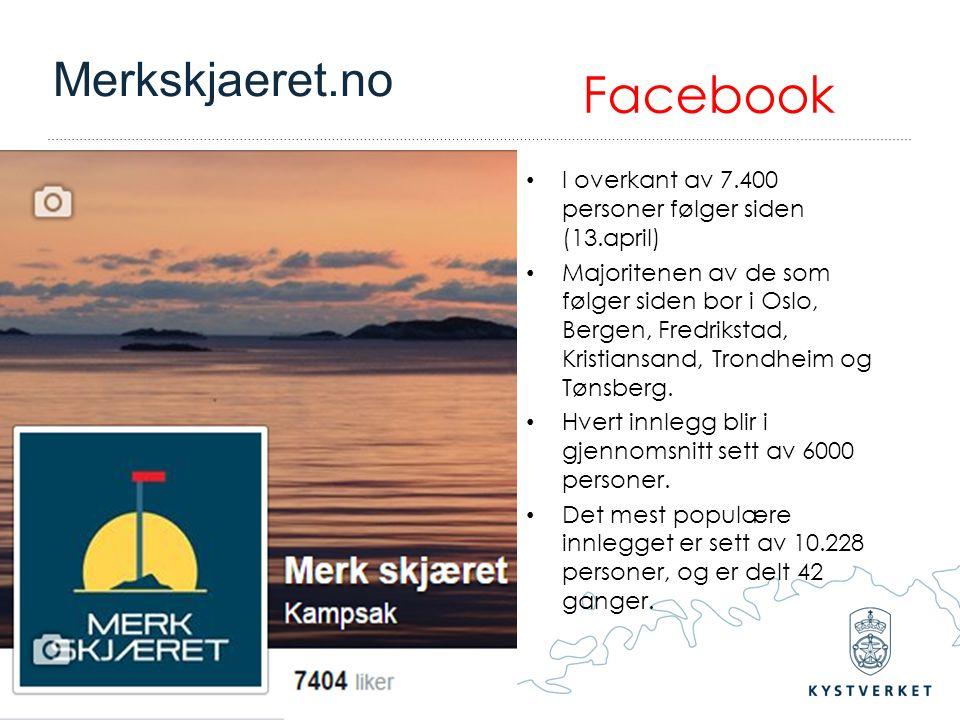 – Vi tar ansvar for sjøvegen Facebook I overkant av 7.400 personer følger siden (13.april) Majoritenen av de som følger siden bor i Oslo, Bergen, Fred